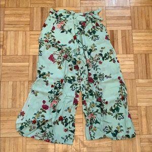 Bershka floral tie waist wide leg pant